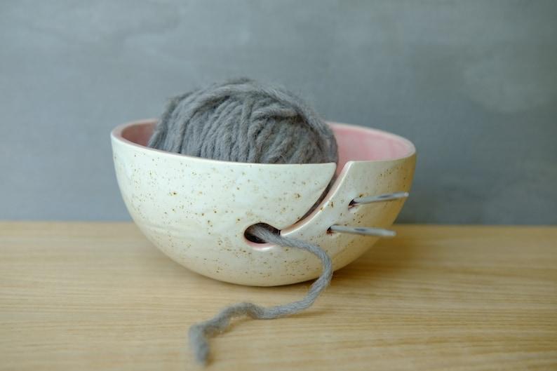 Pottery Yarn Bowl Ceramic Crochet Bowl Yarn Holder Etsy