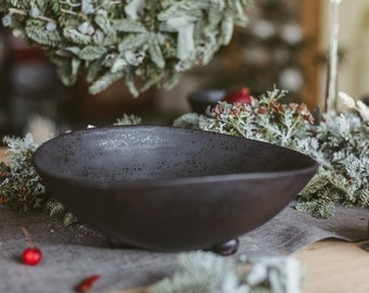 Ceramic big rustic large bowl table centerpiece, Handmade stoneware fruit or berry bowl, Mother Christmas gift, Country home table decor