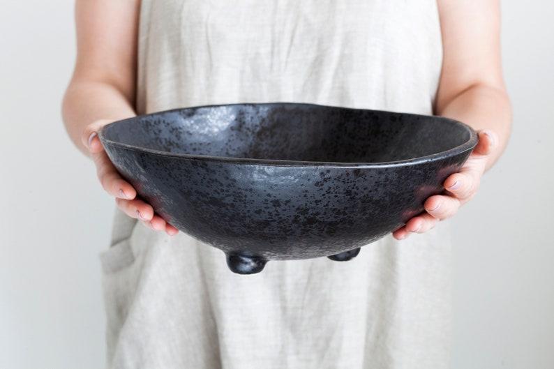 Stoneware minimalist popcorn bowl