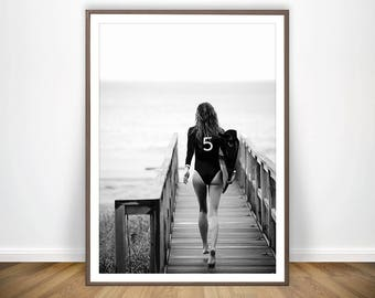 Surf Poster Black and White Beach Print Chanel Inspired Decor Surf Print Chanel Surf Photography Surfing Poster Surf Art Beach Wall Art & Surf art | Etsy