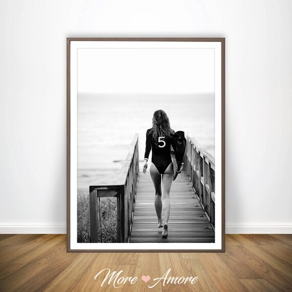 Surf poster black and white beach print chanel inspired decor