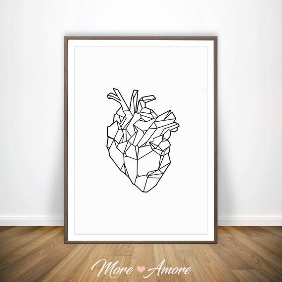 Anatomical Heart Art Anatomy Art Human Heart Anatomy Print