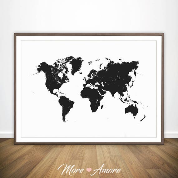 World Map Black and White Print Large World Map Wall Art | Etsy