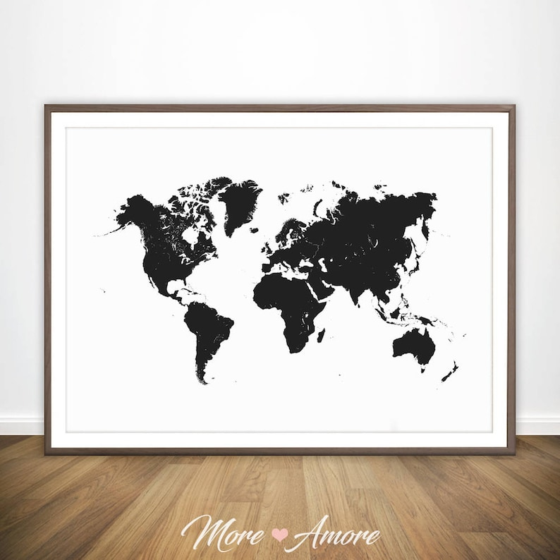 Printable Large World Map.World Map Black And White Print Large World Map Wall Art Etsy