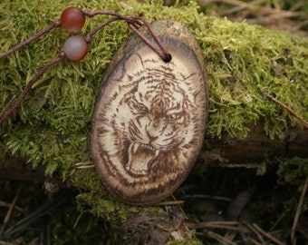 Wood tiger eye jewelry - Tiger animal totem necklace. Personalized jewelry tiger charm necklace. Tiger pendant amulet for him. Tiger jewelry