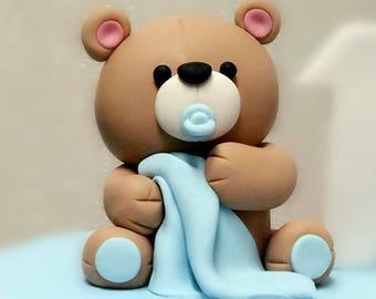 Baby Bear Fondant Cake Topper With blanket - 3D Fondant Cake Topper