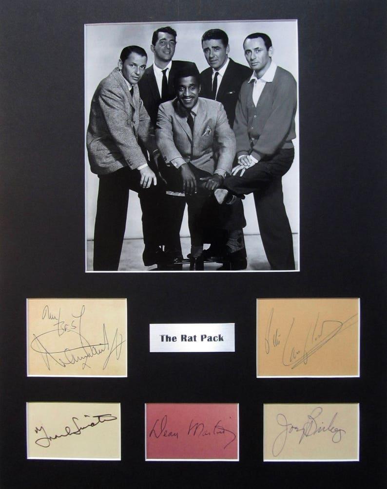 LARGE vintage The Rat Pack Autograph Autographed Signed Art photograph photo artwork Frank Sinatra Dean Martin Sammy Davis Jr poster print