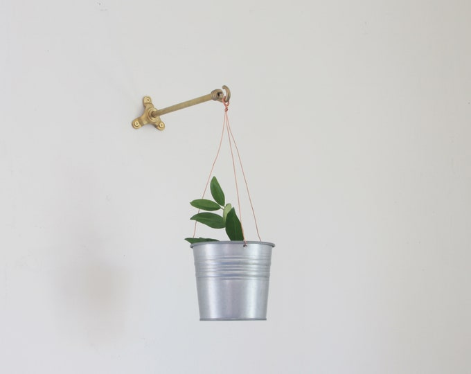 Featured listing image: Solid brass planter hanger-Brass wall hanger-Brass wall hook-Brass planter hook-Brass hanging plant bracket hook