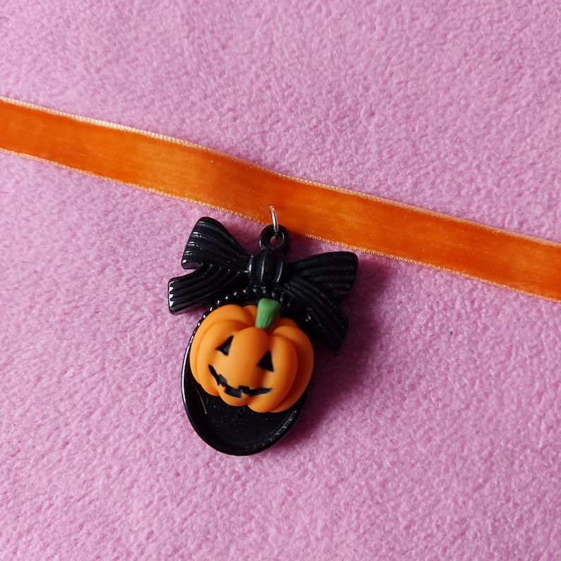 Pastel orange and black kawaii pumpkin cameo halloween charm Choker lollipop baby wings kawaiicute bow mint pink glitter bunny donut bow
