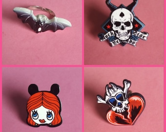 Gothic/punk rings/ 4 typed available/adjustable sizing