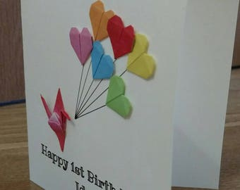 Personalised Origami Cards For Birthdays Weddings Anniversaries Etc Personalisedcards Kimomio Paperart Handmade