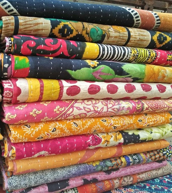 15 Pcs Wholesale Lot Indian Vintage Kantha Old Sari Handmade Cotton Reversible