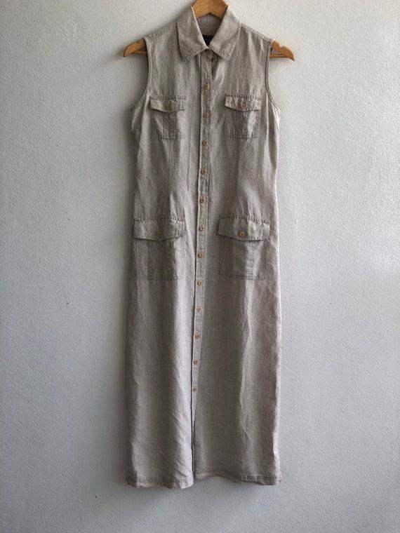 VINTAGE 100% Linen Shirt Dress