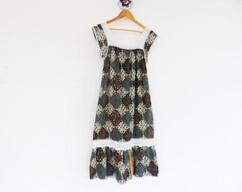 VINTAGE Cotton Boho Hippy Summer Beach Long Maxi Dress with White Crochet Neckline
