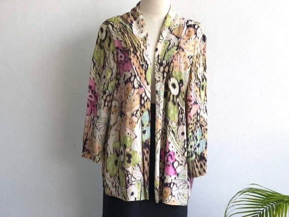 VINTAGE 80's SILK Shirt Blouse Top Natural Materia
