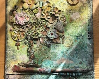 Mixed media art, canvas wall art.