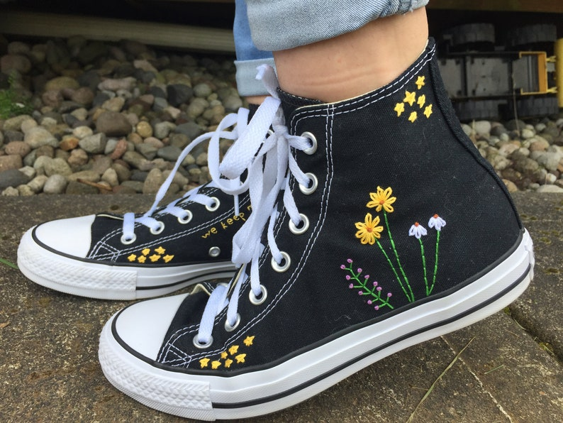 Stars and Flowers Embroidered Converse image 0