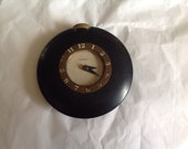 Vintage Wesclox Black Bakelite Watch Clock With Brass Dial,Winding Stem 2.75 quot Dia
