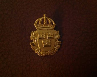 "Vintage Three Crowns Swedish Cap Emblem/Brooch Made by Sporrong & Co. 7/8"" x 1 1/4"""