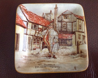 """Vintage Mr.Bumble (Oliver Twist) Pin Dish / Tray 4X4"""" 1950's"""