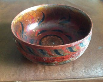Antique Khokhloma Russian Handpainted Wooden Bowl 19th Century