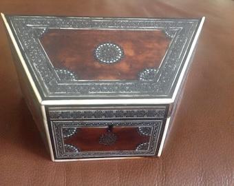"Antique Wedge Shaped Anglo Sadeli Wear Stationery Box W 8.25 X 4"""