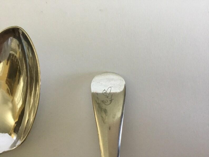 Ensemble de 6 Sheffield Silver / Electro Plated Dessert Spoons,Monogram G, L 7 Bowl 1.5. C 1900