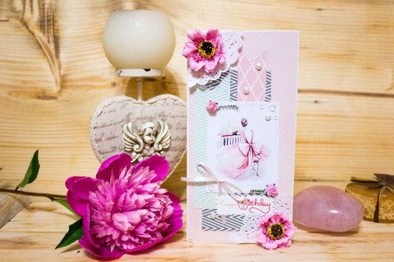 romantic birthday card for her elegant luxury handmade card etsy