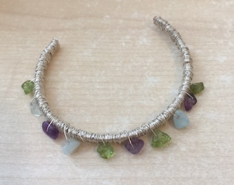 Silver Wire Wrapped Cuff with Gemstone Beads