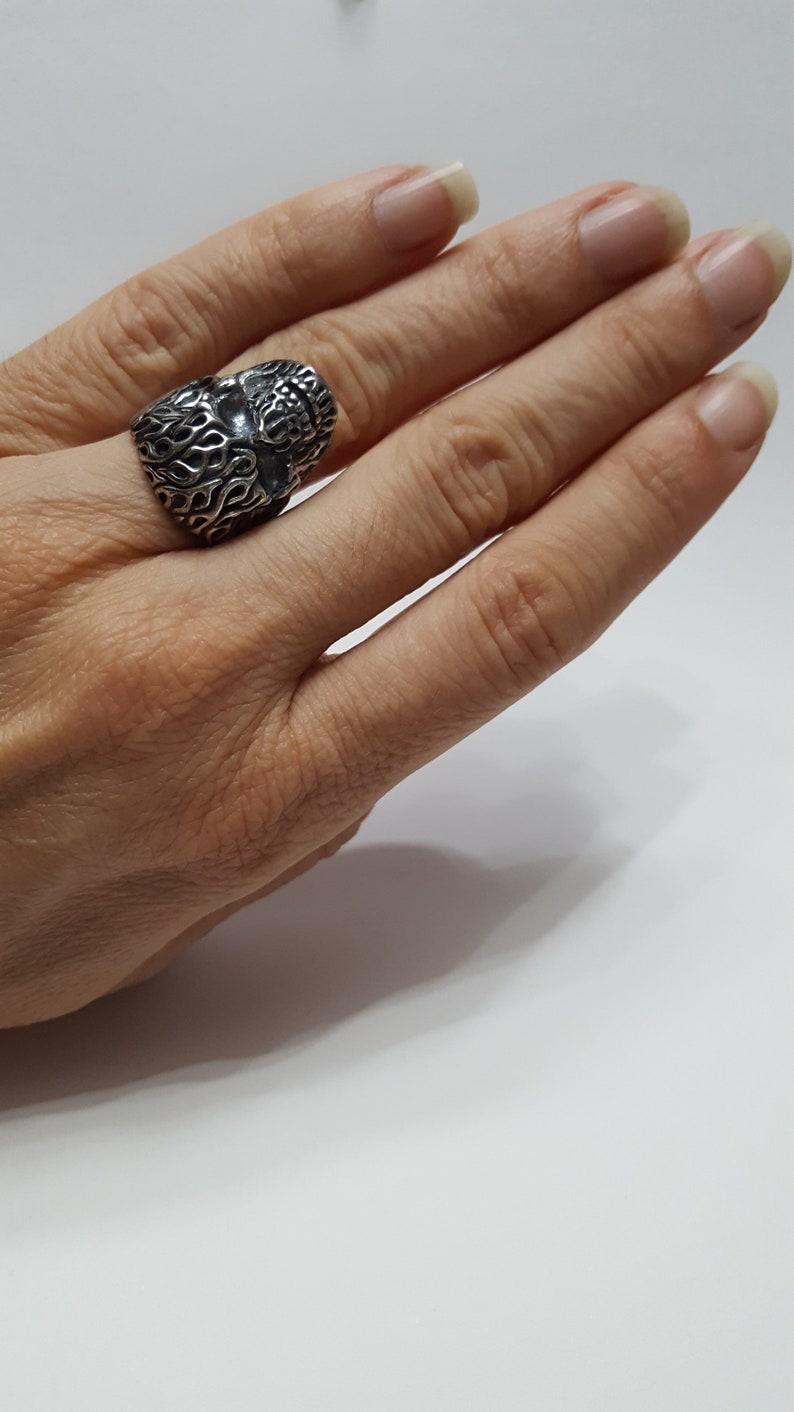 flame skull ring fire ring fire skull skull ring Silver skull ring biker/'s ring biker jewelry biker ring
