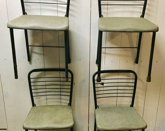 Beau Vintage Lot Of 4 Dining Room Folding Chairs Retro 1950s Wire Back Mid  Century Modern Eamed Era Cosco Card Table Chairs Apartment Living
