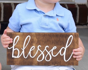 Blessed Wood Sign, Rustic Wood Sign, Rustic Decor, Blessed Sign, Fall Decor, Wall Decor
