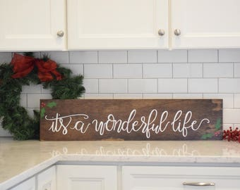 its a wonderful life wood sign christmas wood sign christmas decor christmas wall decor rustic christmas farmhouse christmas mantel - Christmas Wall Decor
