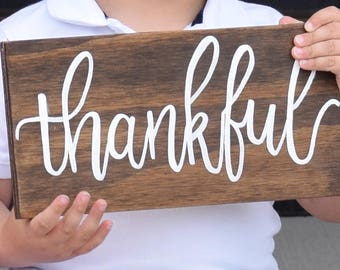 Thankful Wood Sign, Rustic Wood Sign, Wall Decor, Rustic Decor, Fall Decor