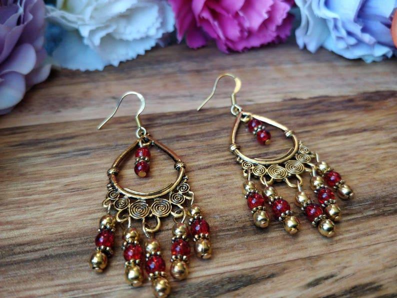 Red Earrings Ethnic Statement Earrings Boho Jewelry Hippie Gold Earrings Boho Earrings Bohemian Jewelry Gold Earrings. Large Earrings