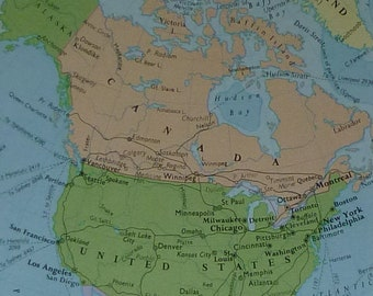 1960s Vintage Map of North America