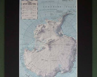 Vintage Mounted Map of the Antarctic - Vintage Geography Wall Art - Available Framed - Vintage Map - Vintage Winter Decor - Polar Expedition