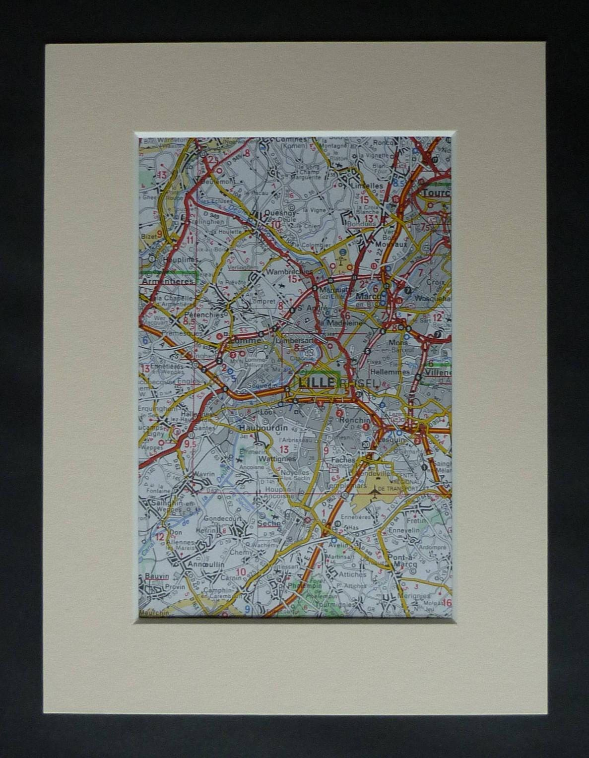 Map France 945.1980s Vintage Map Of Lille France Gift Available Framed French Art Haubourdin Picture Lomme Wall Art Armentieres Decor Quesnoy Print