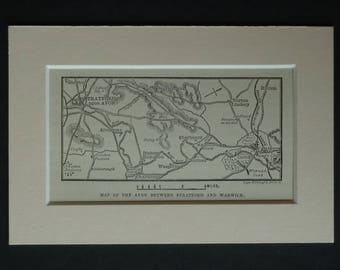 1880s Antique Print of the River Avon, Stratford Upon Avon Decor, Available Framed, Warwick Map Alveston Gift Sherbourn Picture Snitterfield