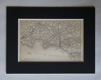 1880s Antique Map of South Devon, Newton Abbot Decor, available framed, Torquay Art, Victorian Ringmoor Print, Tor Bay Gift Paignton Picture