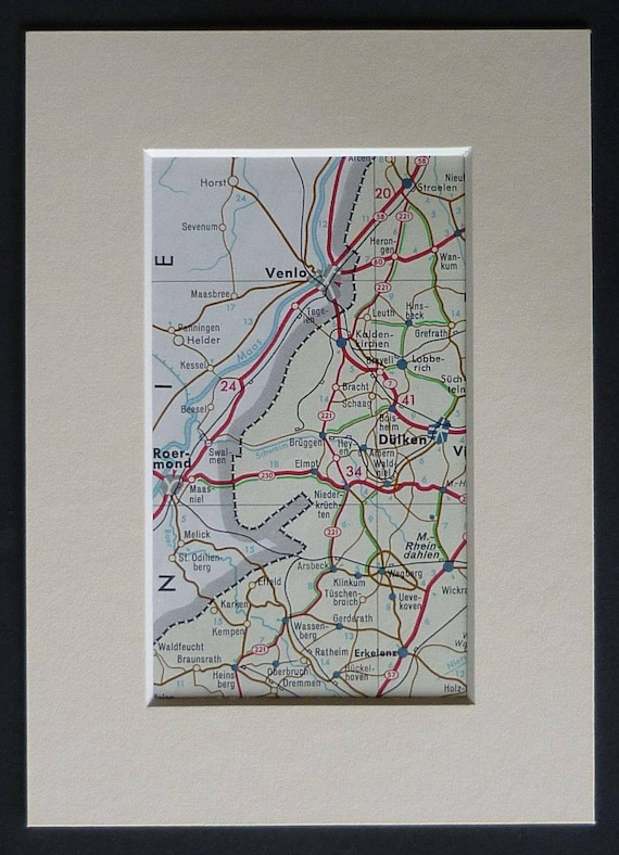 1960s Vintage German Road Map Print of Dulken and the   Etsy