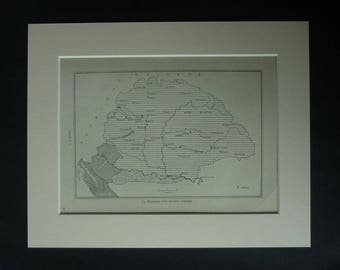 1920s Antique Map of Hungary, Medieval Europe, Available Framed, Historic Art, Historical Gift, Hungarian Print Árpádian Picture Cartography