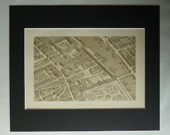 1870s Antique French Map of Paris, Historic Decor, Available Framed, France Art, Seine Print, PrimrosePrints, Tuileries Palace, Louvre Gift