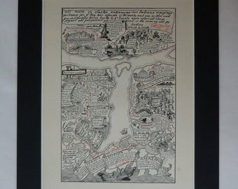Antique map print, Amazon river art prints, South America map, Rudyard Kipling Just So Stories, illustrated map, travel gift adventure print