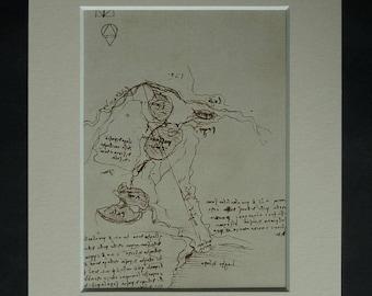 Vintage Leonardo Da Vinci Print, Navigation Canal Map Decor, Available Framed River Art Engineering Gift for Engineer Lago di Lecco Lambro
