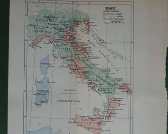 Original 1901 Map Of Italy - Roman Empire - Print - Rome - Sicily - Sardinia - Colour - Antique - Pastel - Tuscany - Vintage