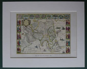 Vintage Print of a 17th Century map of Asia Vintage exploration art, Asian cartography decor - Available Framed - Antique Map - Oriental map
