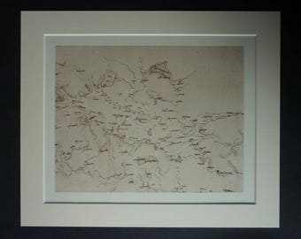 Vintage Leonardo da Vinci Print of Latium, Renaissance Italy Picture, Old Map Decor, Available Framed, Italian Art, Ancient Rome Wall Art