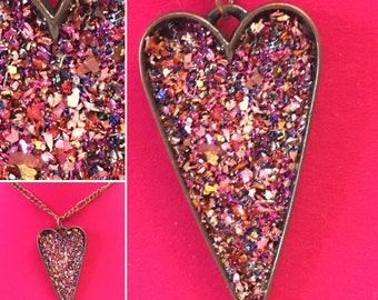 Ruby Glitter Heart Necklace