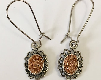 Silver Oval Filigree Drop Earrings